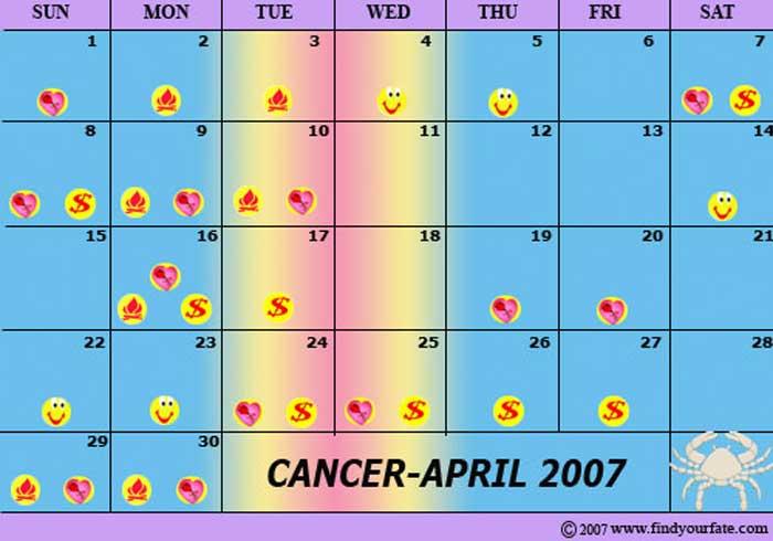 Zodiac Calendar April : Astrology calendars for all zodiac signs cancer