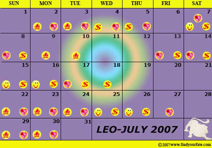 2007 Astrology Calendars for all zodiac signs - Leo Astrology