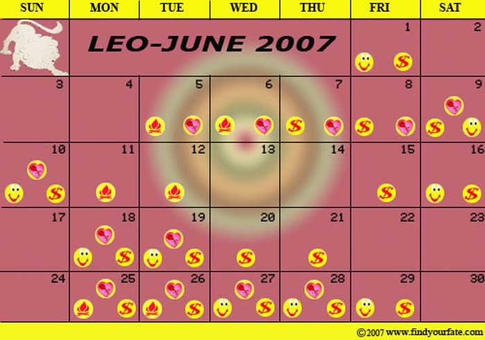 Zodiac Calendar June : Astrology calendars for all zodiac signs leo