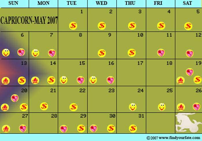 Zodiac Calendar May : Astrology calendars for all zodiac signs capricorn