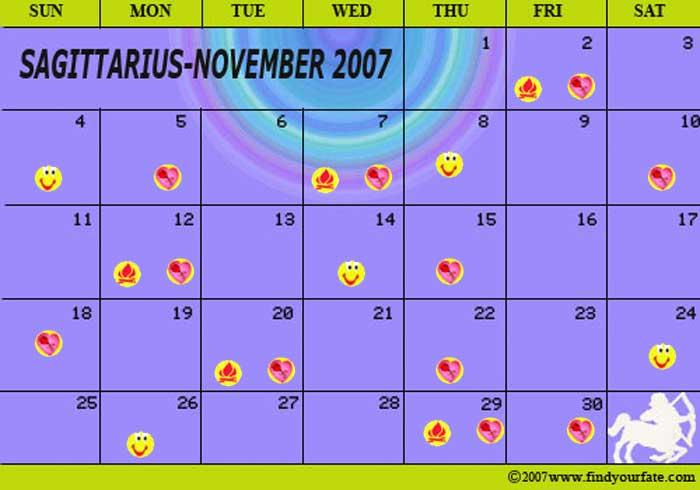 2007 Astrology Calendars For All Zodiac Signs Sagittarius