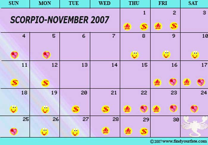 2007 Astrology Calendars For All Zodiac Signs Scorpio Astrology